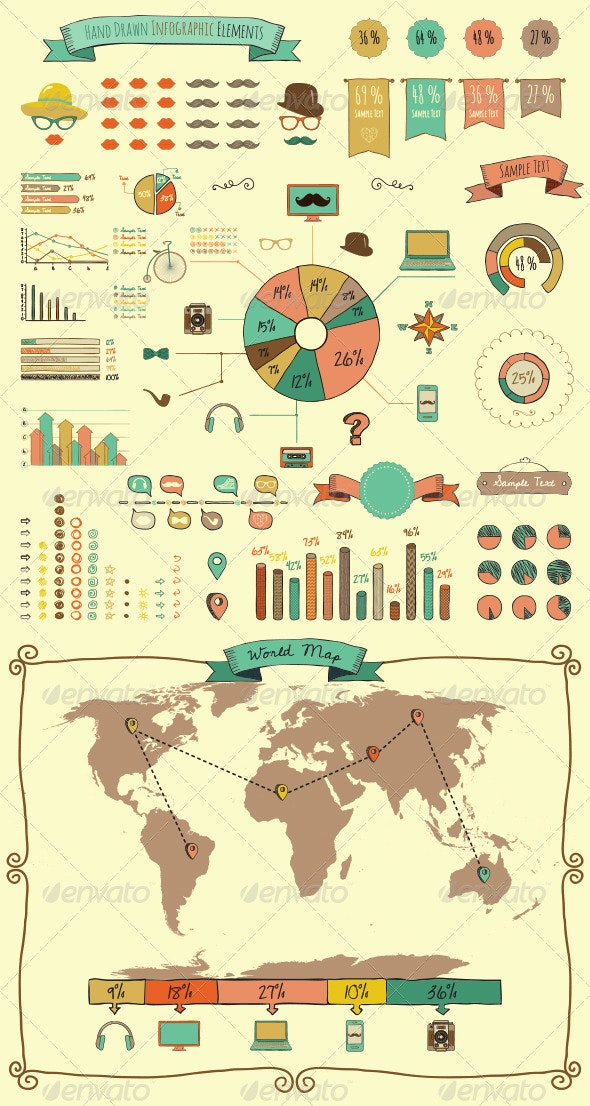 Hand Drawn Elements and Icons of Infographics - Infographics
