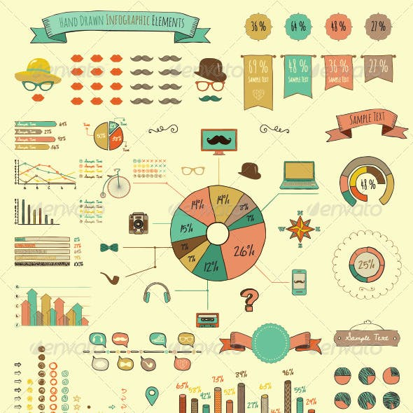 Hand Drawn Elements and Icons of Infographics