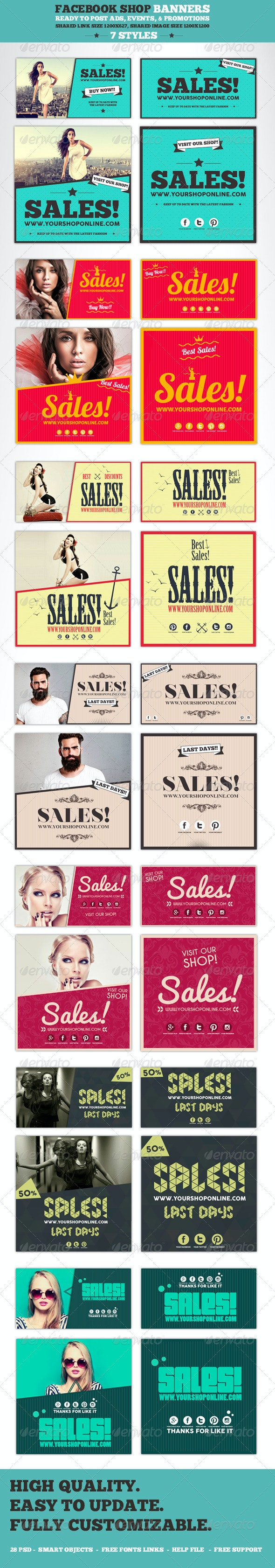 Facebook Post Banners - Banners & Ads Web Elements