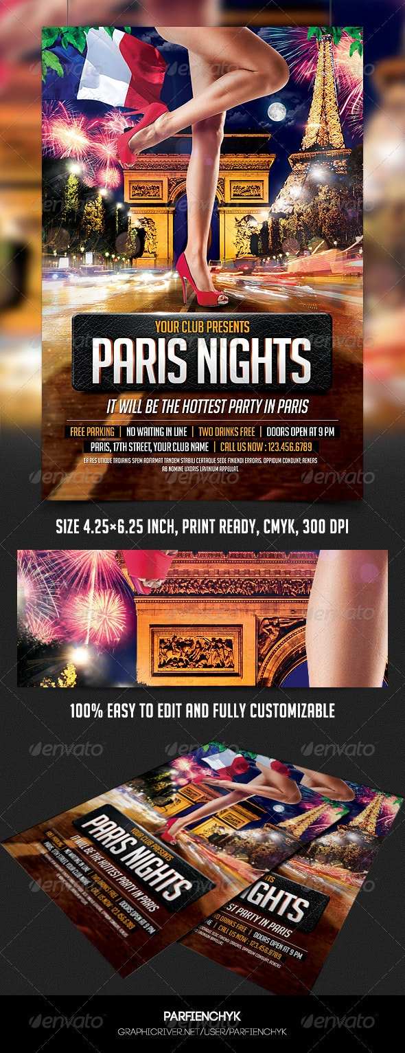 Paris Nights Party Flyer Template - Clubs & Parties Events