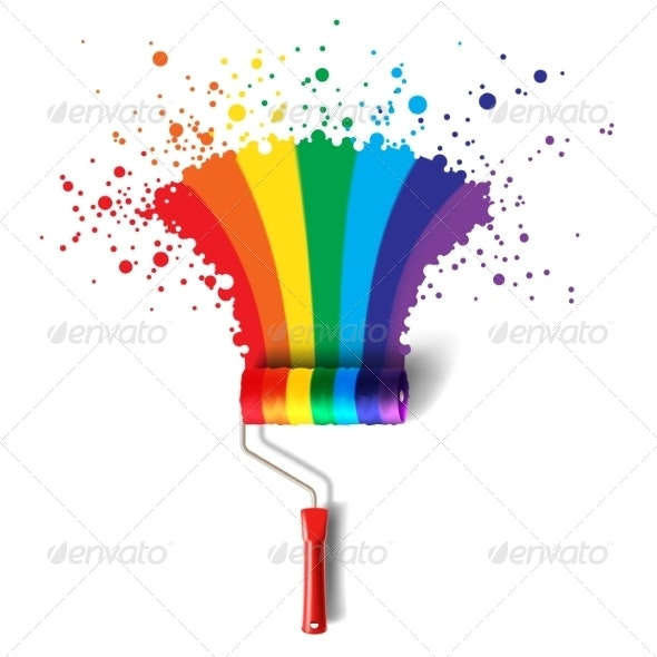 Rainbow Roller Brush - Backgrounds Decorative