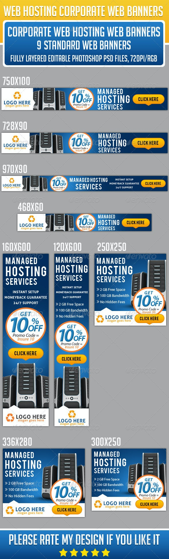 Corporate Web Hosting Banners - Banners & Ads Web Elements