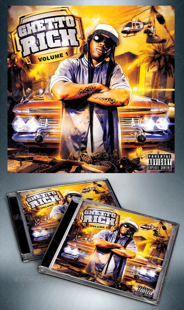 Ghetto Rich Mixtape / Flyer or CD Template  - CD & DVD Artwork Print Templates
