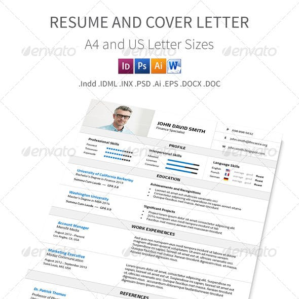 Resume and Cover Letter – A4 and Us Letter Sizes