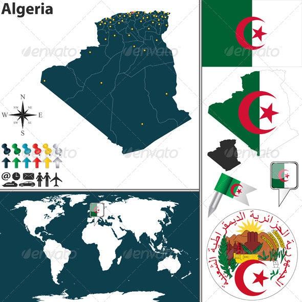 Map of Algeria - Travel Conceptual