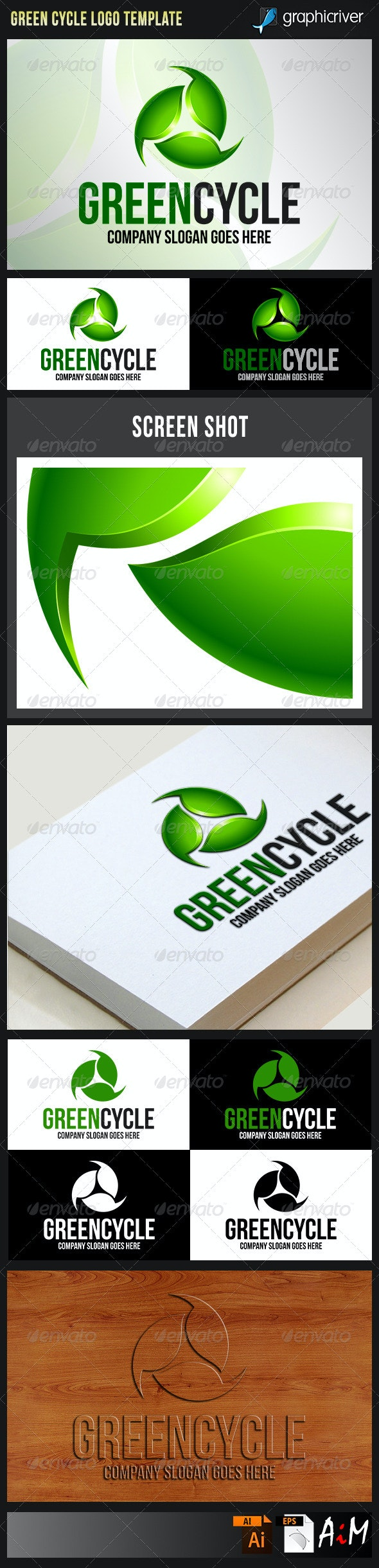 Green Cycle - Recycling Natural Energy Logo - Nature Logo Templates