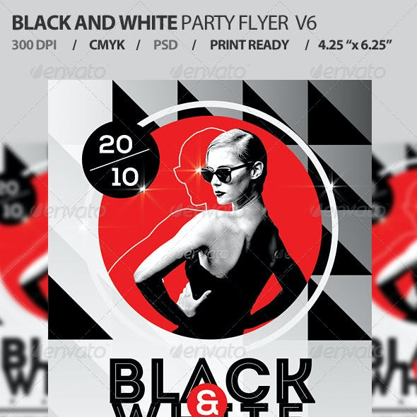 Black And White Party Flyer Template PSD V6