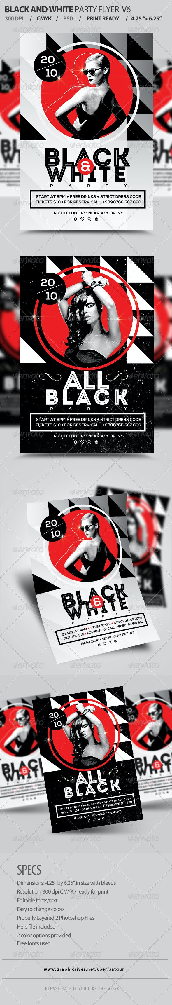 Black And White Party Flyer Template PSD V6 - Clubs & Parties Events