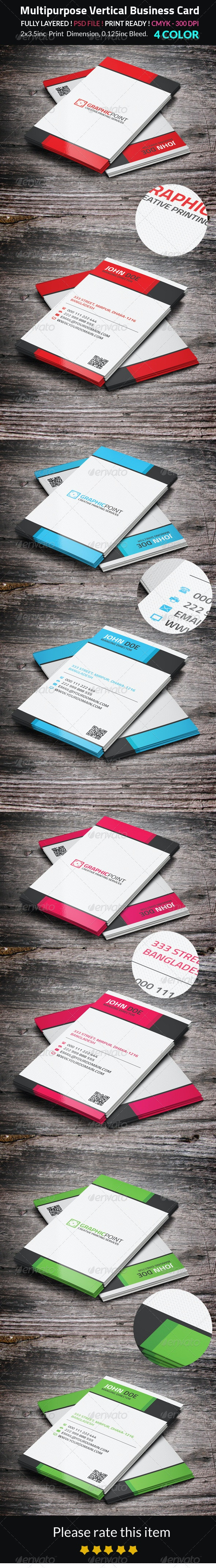 Multipurpose Vertical Business Card - Corporate Business Cards
