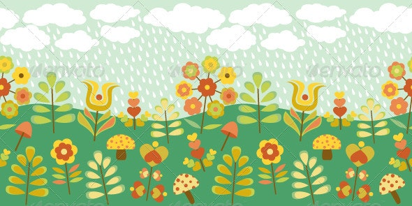 Cute Vintage Seamless Border - Backgrounds Decorative