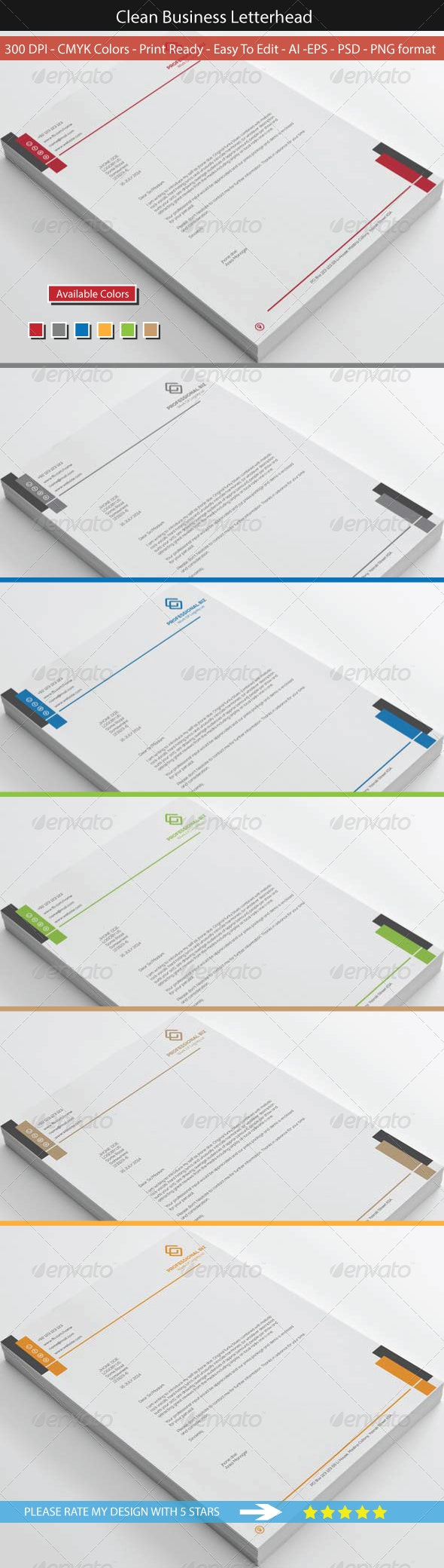 Clean Corporate Business Letterhead - Stationery Print Templates