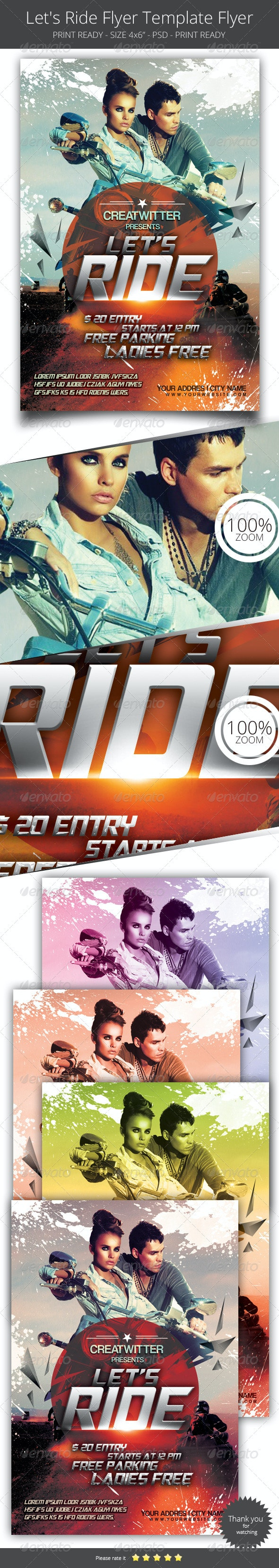 Let's Ride Flyer Template - Clubs & Parties Events