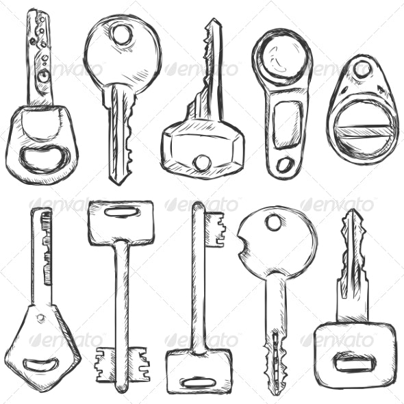 Vector Set of Sketch Modern Keys.  - Man-made Objects Objects