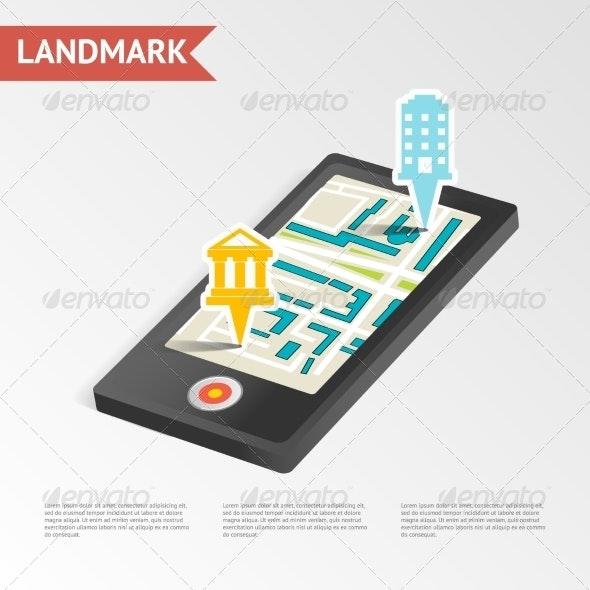 Real Estate Landmark Mobile Device Isometric Design - Web Technology