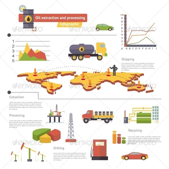 Oil Extraction and Processing Infographics Icons  - Industries Business