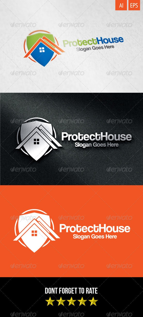 Protect House Logo - Buildings Logo Templates