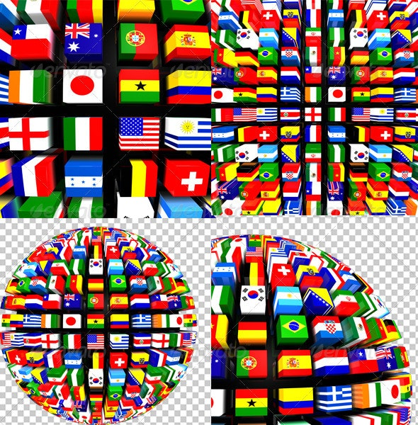 World Flags Globe Pack - Technology 3D Renders