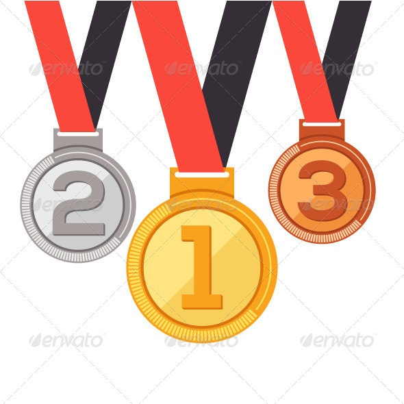 Flat Trophy Medal Awards - Objects Vectors