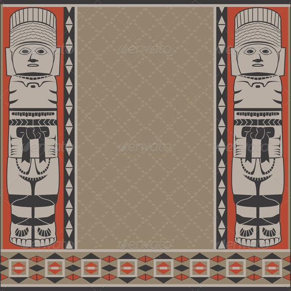 Banner with Ancient American Ornaments - Borders Decorative