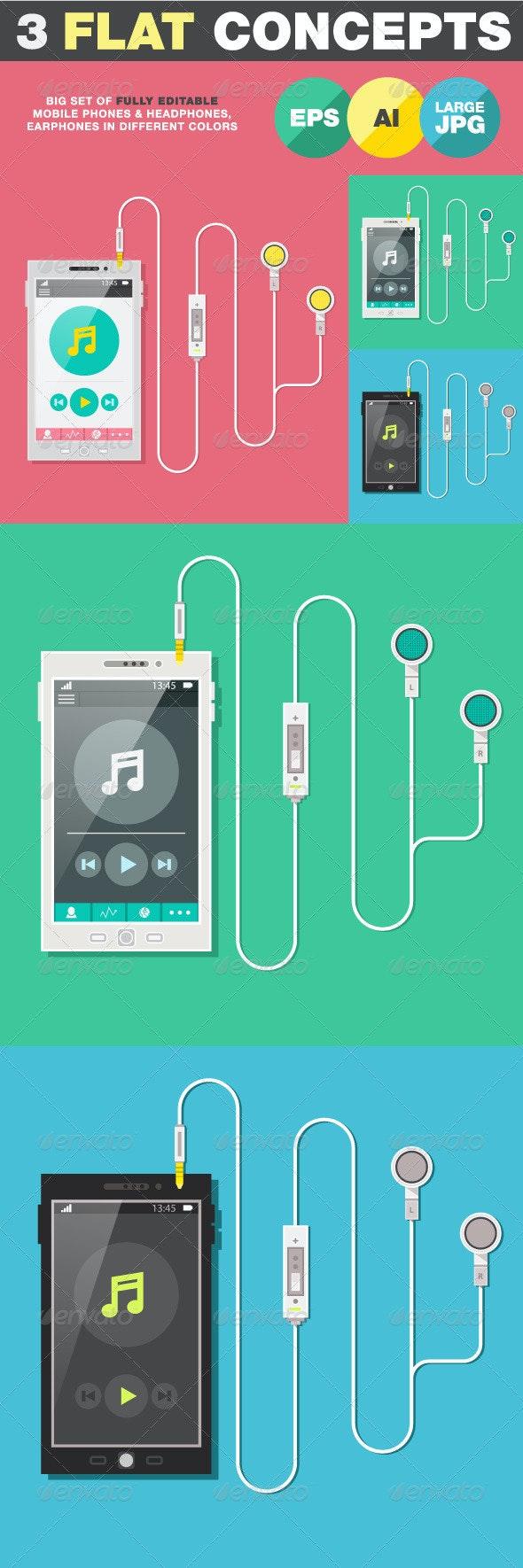 Flat Phone with Headphones, Earphones - Objects Vectors