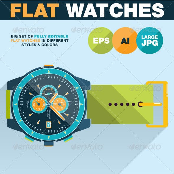 Flat Watches Illustration