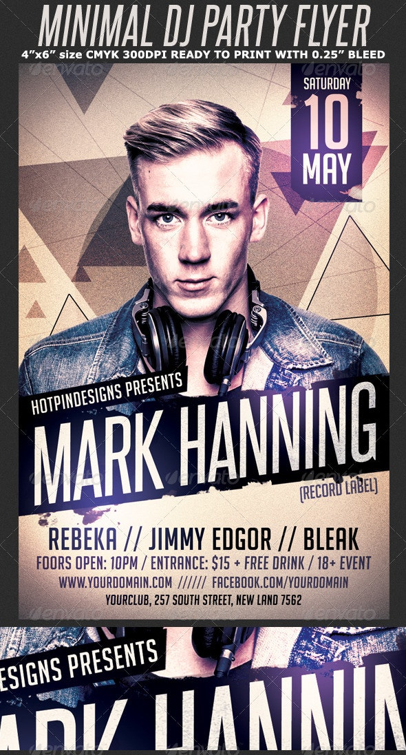 Minimal Dj Party Flyer Template - Clubs & Parties Events