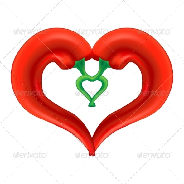 Chili Pepper Heart. Passion and Love Symbol - Valentines Seasons/Holidays