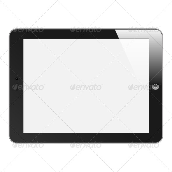 Realistic Tablet PC with Blank Screen - Computers Technology