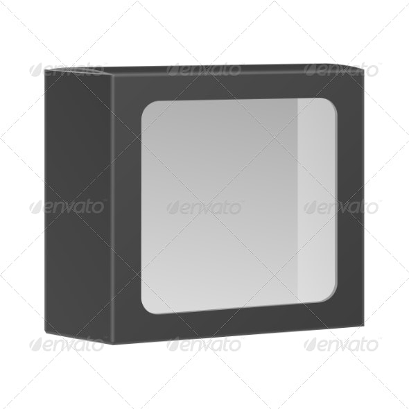 Blank Black Product Package Box With Window - Retail Commercial / Shopping