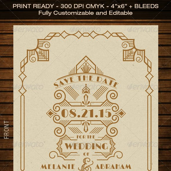 Wedding Save the Date Post Card - Art Deco 03