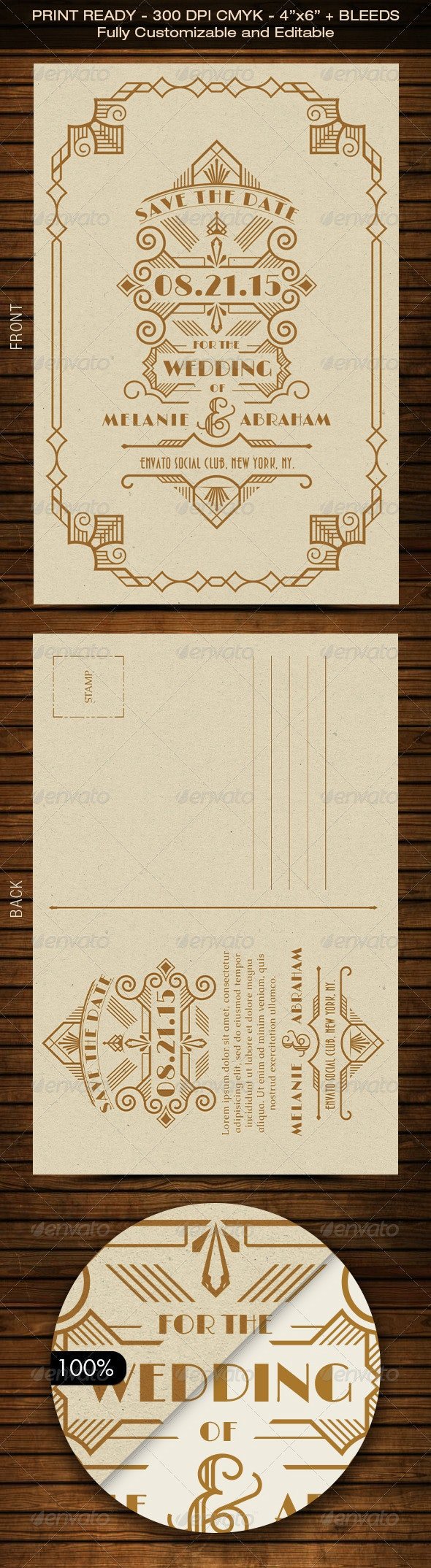 Wedding Save the Date Post Card - Art Deco 03 - Weddings Cards & Invites