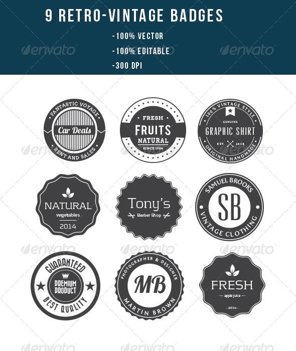 9 Retro Vintage Badges - Badges & Stickers Web Elements