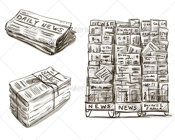 Press. Newspaper Stand - Objects Vectors