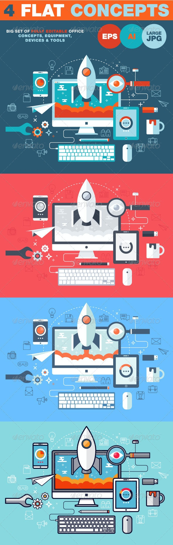 Flat Design Vector Illustration Concept - Objects Vectors