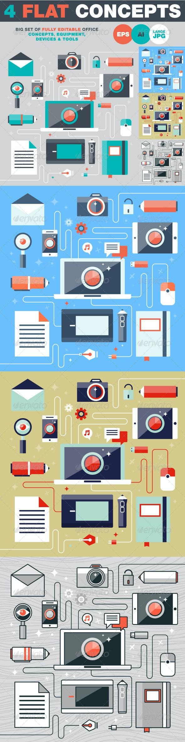 Flat Design Vector Illustration Concept - Objects Vectors