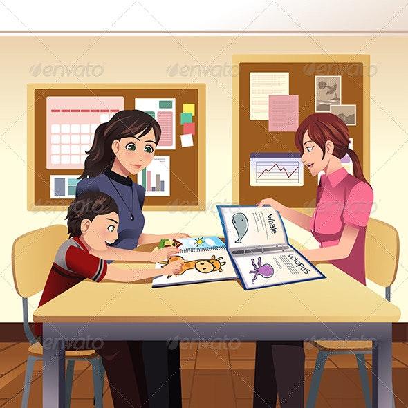 Parents Teacher Meeting - People Characters