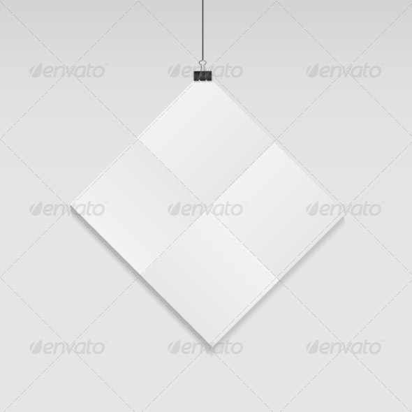 White Blank Page with Clip Vector Illustration - Web Technology