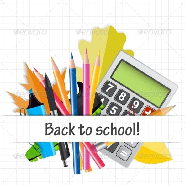 School Theme Background with Different Tools