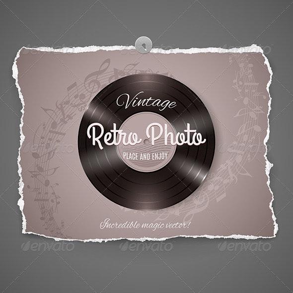 Vintage Vinyl Music Illustration - Decorative Symbols Decorative