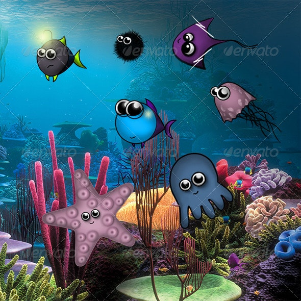 Cartoon Aquarium Fish - Characters Illustrations