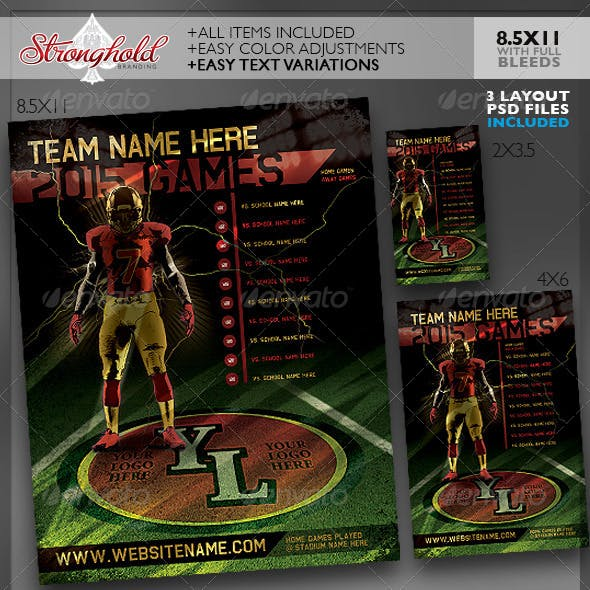 Football Team Schedule Flyer Templates