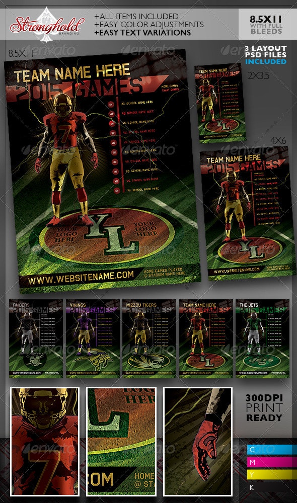Football Team Schedule Flyer Templates - Sports Events