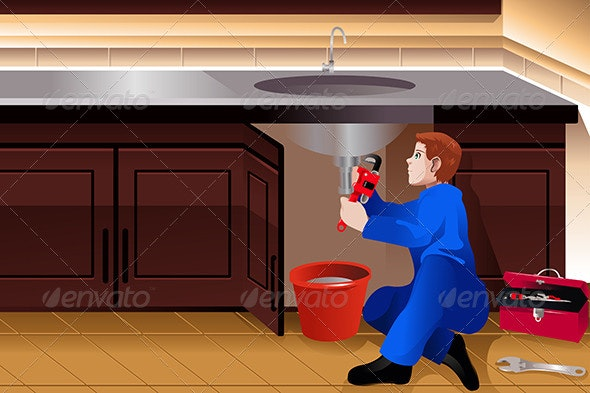 Plumber Fixing a Leaky Faucet - People Characters