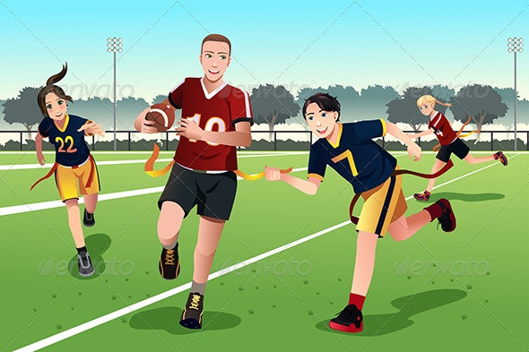Young People Playing Flag Football - Sports/Activity Conceptual