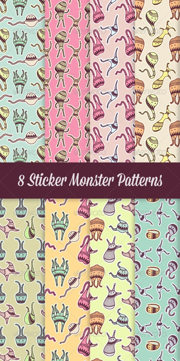 8 Sticker Monster Patterns - Monsters Characters