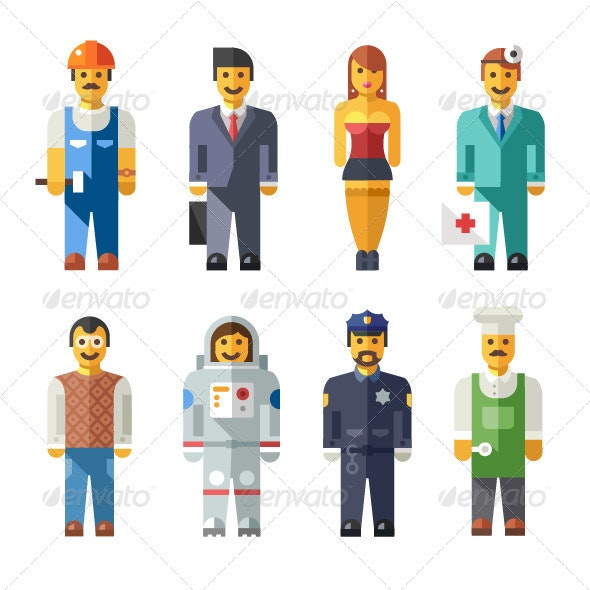 Vector Flat Illustrations Peoples Characters - Characters Vectors