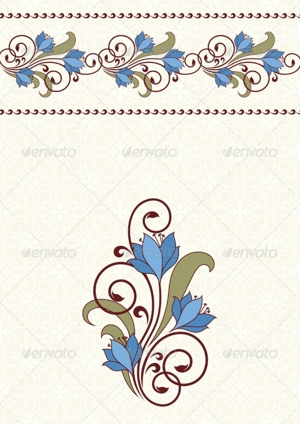 Invitation Card with Flowers. - Flowers & Plants Nature