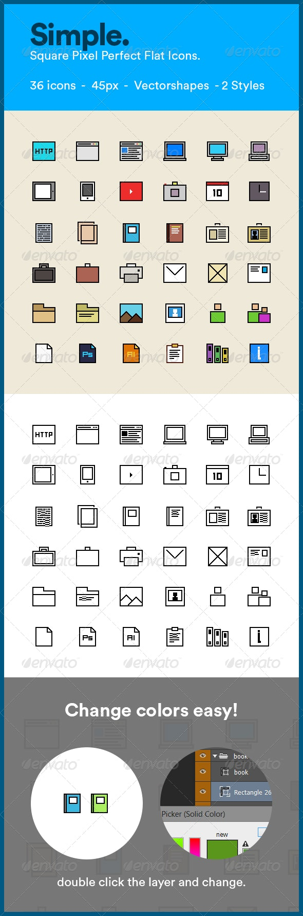 Simple Square Flat Web Icons - Web Icons