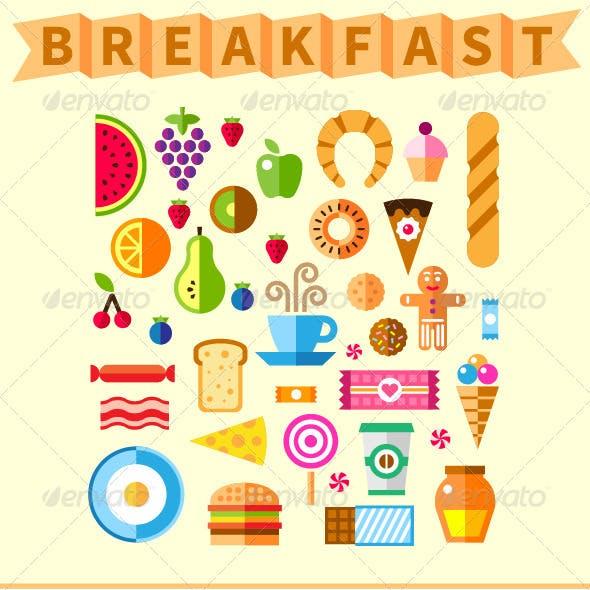 Good Breakfast Flat Icon Set