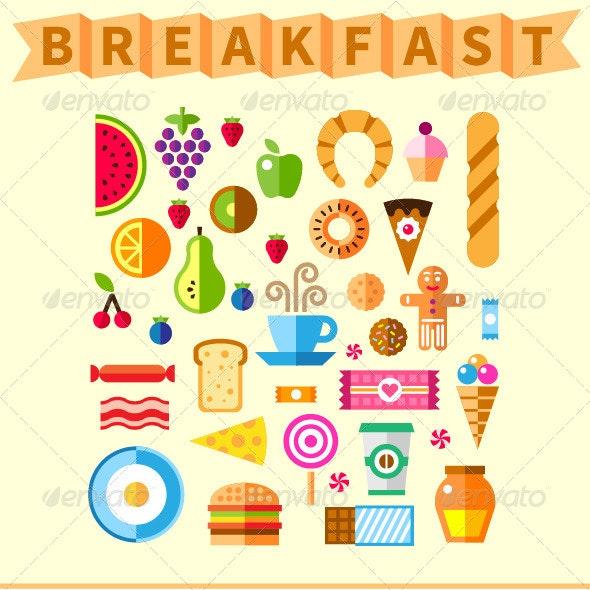 Good Breakfast Flat Icon Set - Food Objects